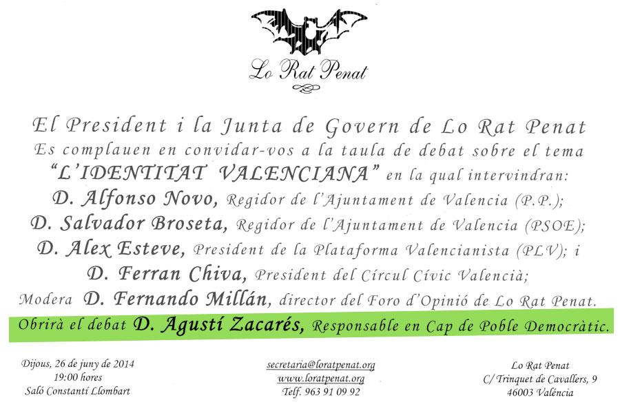 """POBLE participa en la taula debat sobre """"L'Identitat Valenciana"""""""